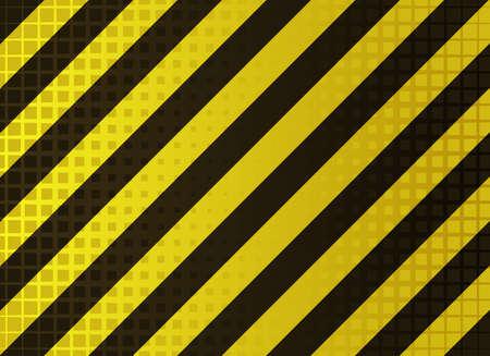 hazardous work: vector illustration of  grungy hazard stripes in dark yellow and black colors
