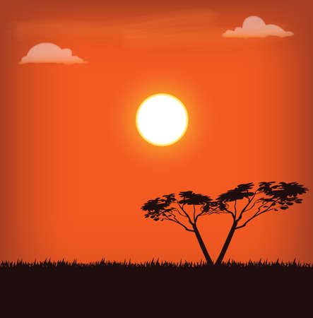 vector illustration of africa landscape with sun and trees on sunset Vector