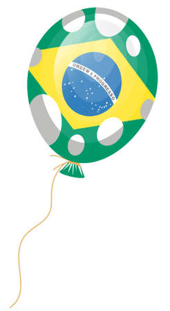 edit valentine: vector illustration of green balloon of brazilian flag with white spots  Illustration
