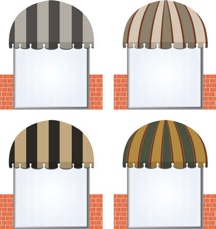 corner house: vector illustration of four different colored vector awnings