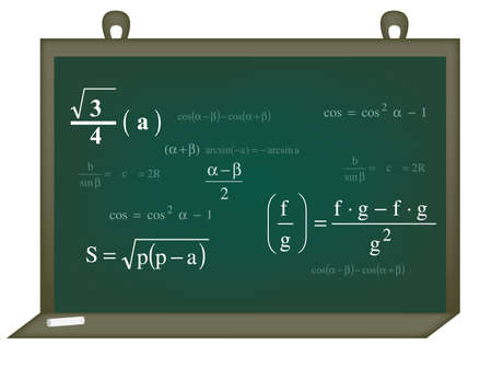 Vector illustration of math background in green with white text  Vector