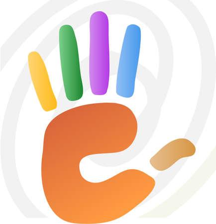empreinte de main: illustration de vecteur de main en diverses couleurs