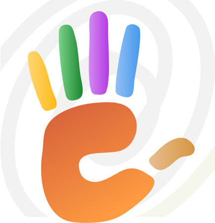 thumb print: vector illustration of  hand print in various colors