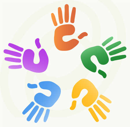 cohesion: vector illustration of  hand prints in various colors  Illustration