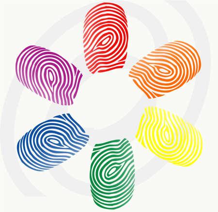 finger prints:  ilustraci�n vectorial de impresiones de dedo en varios colores