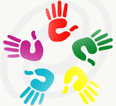 vector illustration of  hand prints in various colors  Vector