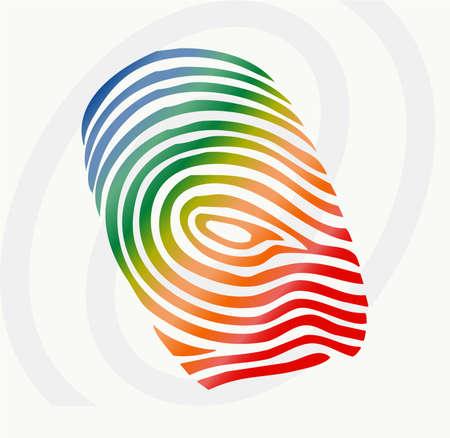 empreintes digitales: illustration vectorielle du doigt impression en couleurs diff�rentes