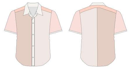 dress shirt: vector illustration of Collar Dress Shirt In Red Color Tones Illustration