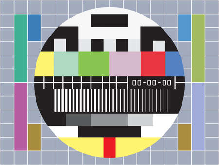 test pattern: vector illustration of  a  tv with test screen with no signal