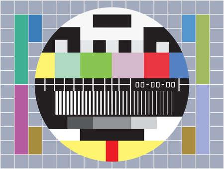 omroep: vectorillustratie van een tv met test scherm met geen signaal Stock Illustratie