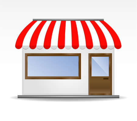 store front: vector illustration of storefront awning in red