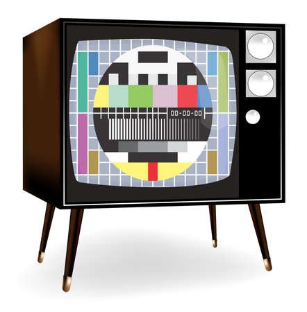 illustration of  a  tv with test screen with no signal  Vector
