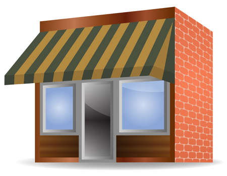 vector illustration of Store Front Awning on white background Vector