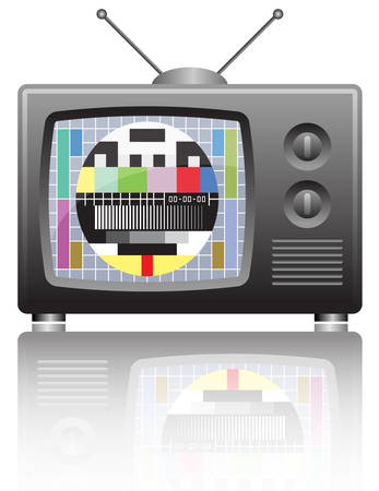 television: vector illustration of  a  tv with test screen with no signal  Illustration