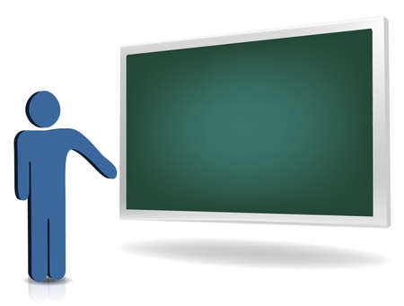 A man pointing to an empty board for additional text   Vector