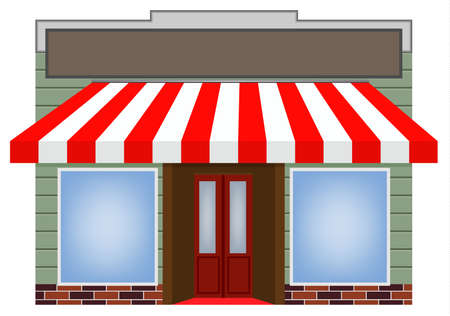 storefront: illustration of four different color vector awning