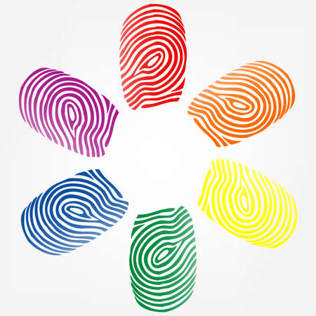 imprints: vector illustration of  finger prints in various colors