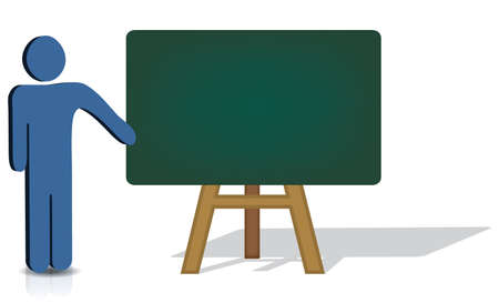 man pointing: A man pointing to an empty chalkboard for additional text Illustration