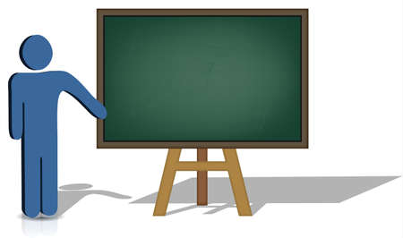 A man pointing to an empty chalkboard for additional text   Vector