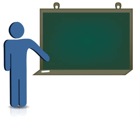 A man pointing to an empty chalkboard for additional text Stock Vector - 8406045