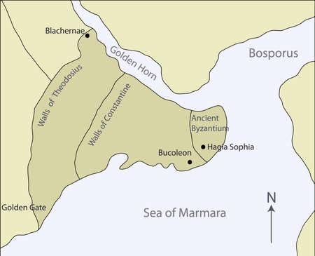 marmara: illustration of  map of Ancient Byzantium  Illustration
