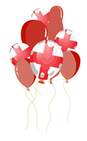 vector illustration of red balloon of england flag with white spots Stock Vector - 8463112