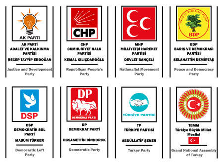 vector illustration of  List of political parties in Turkey Vector