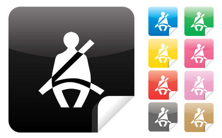 illustration of  seatbelt icons in various color tones  Vector