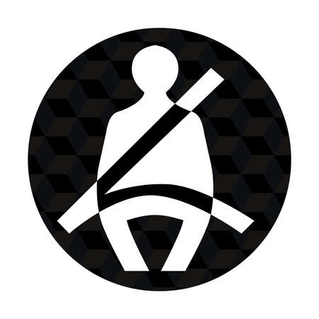 fastening: illustration of  seatbelt icon in only black white color tones  Illustration