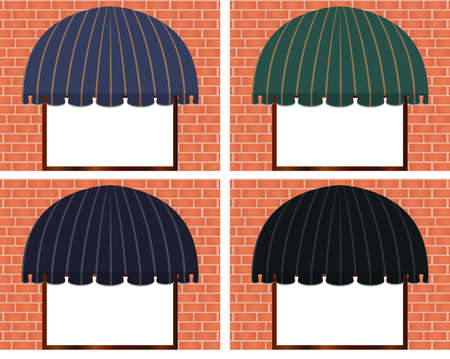 illustration of four different color awnings  Vector