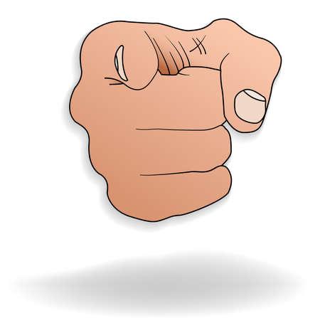 illustratie van een hand die wijzen op een punt op de voorgrond Vector Illustratie