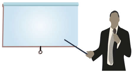 lectures: a person doing a presentation at a business conference or product marketing in front of crowd to audience. add your copy text on blank projection screen.