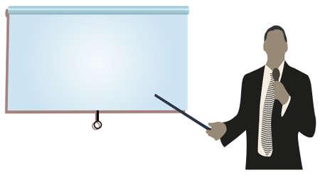 rueda de prensa: una persona haciendo una presentaci�n en una Conferencia de negocios o la comercializaci�n de espectadores a la audiencia de un producto. agregar el texto de la copia en la pantalla de proyecci�n en blanco.  Vectores