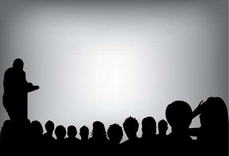 una persona haciendo una presentación en una Conferencia de negocios o la comercialización de espectadores a la audiencia de un producto. agregar el texto de la copia en la pantalla de proyección en blanco. Ilustración de vector