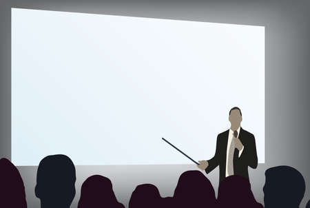 briefing: a person doing a presentation at a business conference or product marketing in front of crowd to audience. add your copy text on blank projection screen.