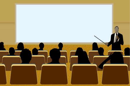una persona haciendo una presentación en una Conferencia de negocios o un producto de marketing de espectadores a la audiencia. Agregue su texto de copia en la pantalla de proyección en blanco.  Ilustración de vector