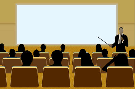 rueda de prensa: una persona haciendo una presentaci�n en una Conferencia de negocios o un producto de marketing de espectadores a la audiencia. Agregue su texto de copia en la pantalla de proyecci�n en blanco.