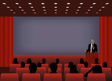 podium: a person doing a presentation at a business conference or product marketing in front of crowd to audience. add your copy text on blank projection screen.