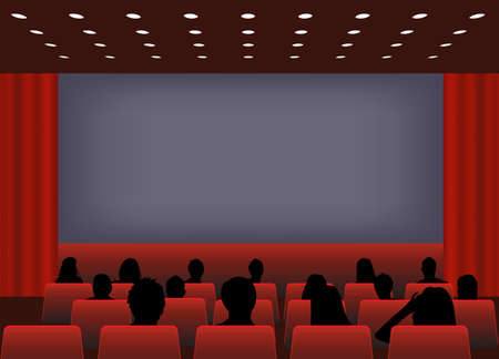 theater auditorium: illustration of  a  people in cinema against screen. composition in red color tones. you can insert text pictures on cinema screen