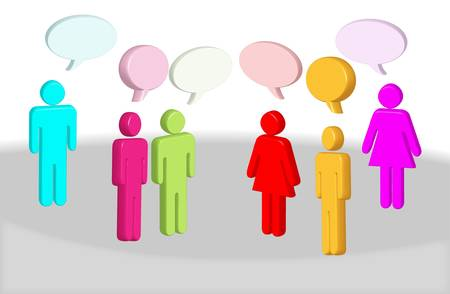 illustration of  chatting 3d different colors  people with text boxes