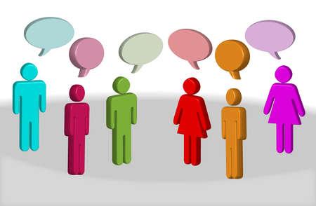 male likeness:   Ilustraci�n de las personas de diferentes colores de 3d chat con cuadros de texto