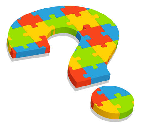 digitally generated image:   illustration of  a question mark puzzle