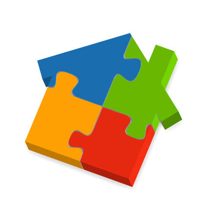 illustration of  a  house puzzle with a shadow underneath Vector