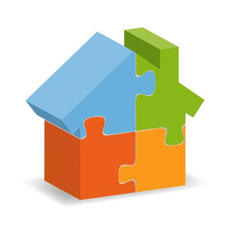 b6b9da6289 illustration of a house puzzle with a shadow underneath Illustration