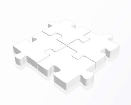 struggling: illustration of white  puzzle pieces with a reflection