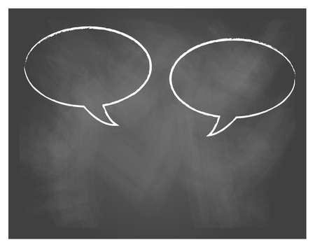 illustration of Comics Word and Thought Bubbles On Blackboard