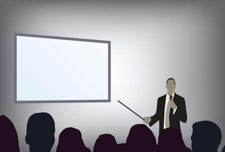successful student: una persona che fa una presentazione a una conferenza di affari o product marketing di fronte alla folla al pubblico. aggiungere il testo copia sullo schermo di proiezione vuota.
