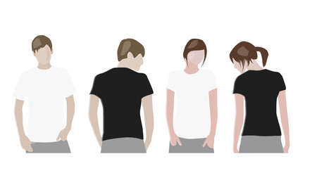 short back: t-shirt design templates (front & back) on male and female models Illustration