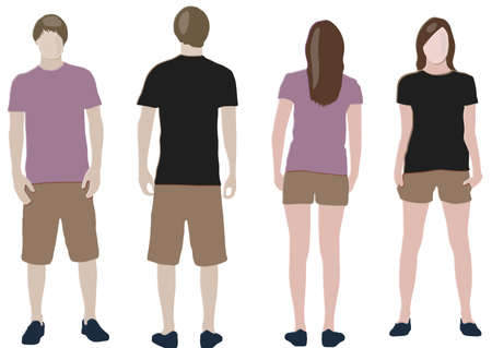 front and back: t-shirt design templates (front & back) on male and female models