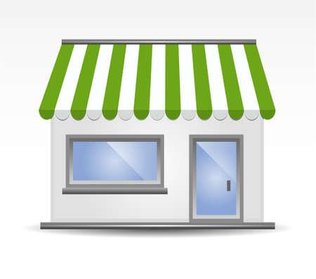 vitrine: vector illustration of Storefront Awning in green